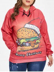 Plus Size Christmas Hamburger Hoodie -