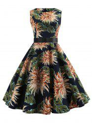 Flower Sleeveless Belted Vintage Dress -