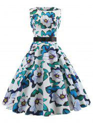 Printed Sleeveless Belted Vintage Dress -