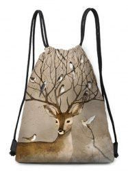 Deer Bird Drawstring Christmas Gift Bag -