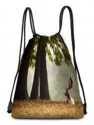 Deer Printed Drawstring Christmas Gift Bag -