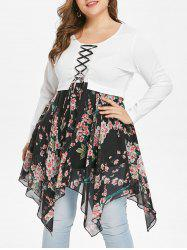 Plus Size Lace Up Floral Handkerchief T-shirt -