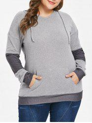 Drawstring Kangaroo Pocket Plus Size Hoodie -