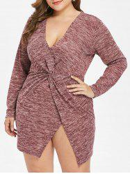Plus Size Plunge Space Dyed Front Knot Dress -