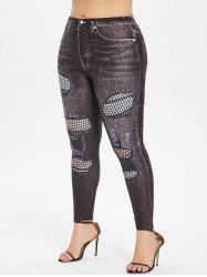 Patterned Plus Size Elastic Waist Leggings -