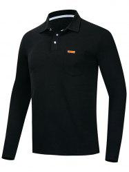 Solid Color Long Sleeve Polo Shirt -