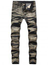 Zipper Fly Long Jeans délavé -