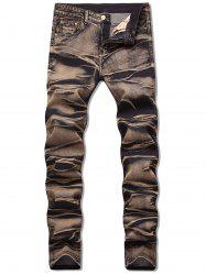 Zipper Fly Long Faded Jeans -