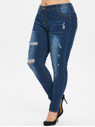 Plus Size Distressed Dark Wash Jeans -