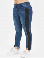 Two Tone Plus Size Frayed Hem Jeans -