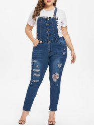 Ripped Plus Size Overall Jeans -