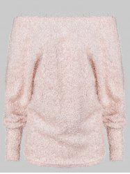 Off Shoulder Batwing Sleeve Fuzzy Sweater -