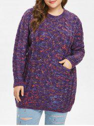 Plus Size Cable Knit Pocket Sweater -