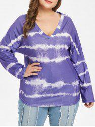 Plus Size Tie Dye V Neck T-shirt -