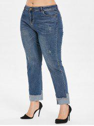 High Rise Cuffed Plus Size Jeans -
