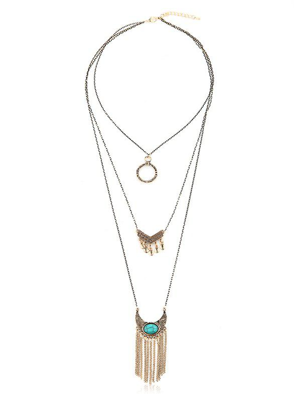 Latest Multilayered Tassel Bohemian Turquoise Necklace