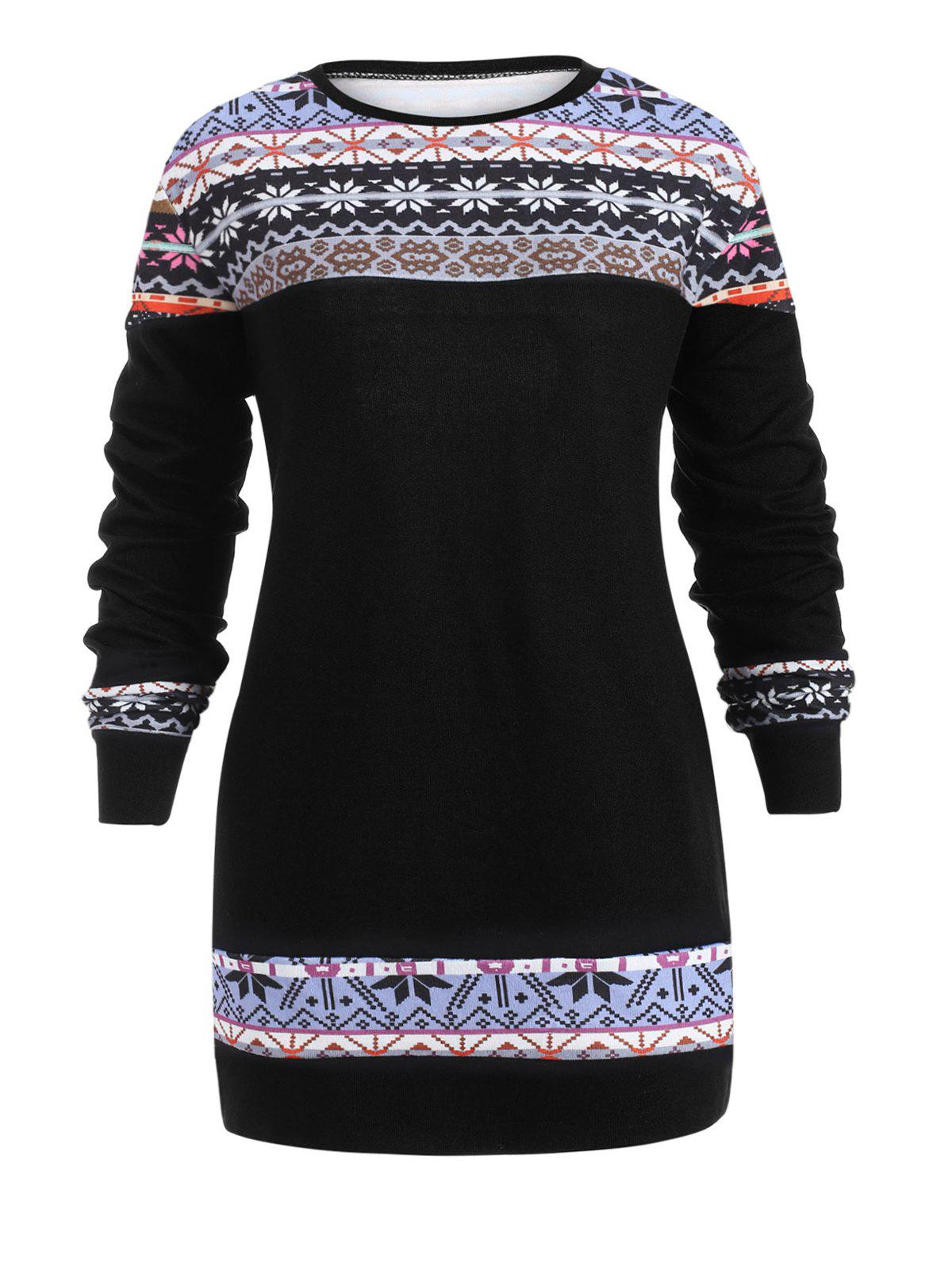 Latest Plus Size Christmas Print Pullover Sweater