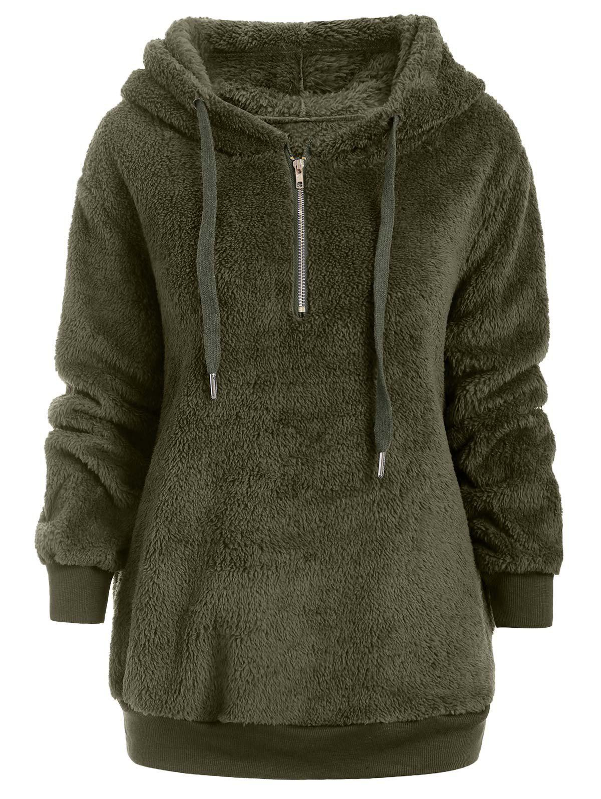 Outfit Half Zipper Drawstring Fluffy Hoodie