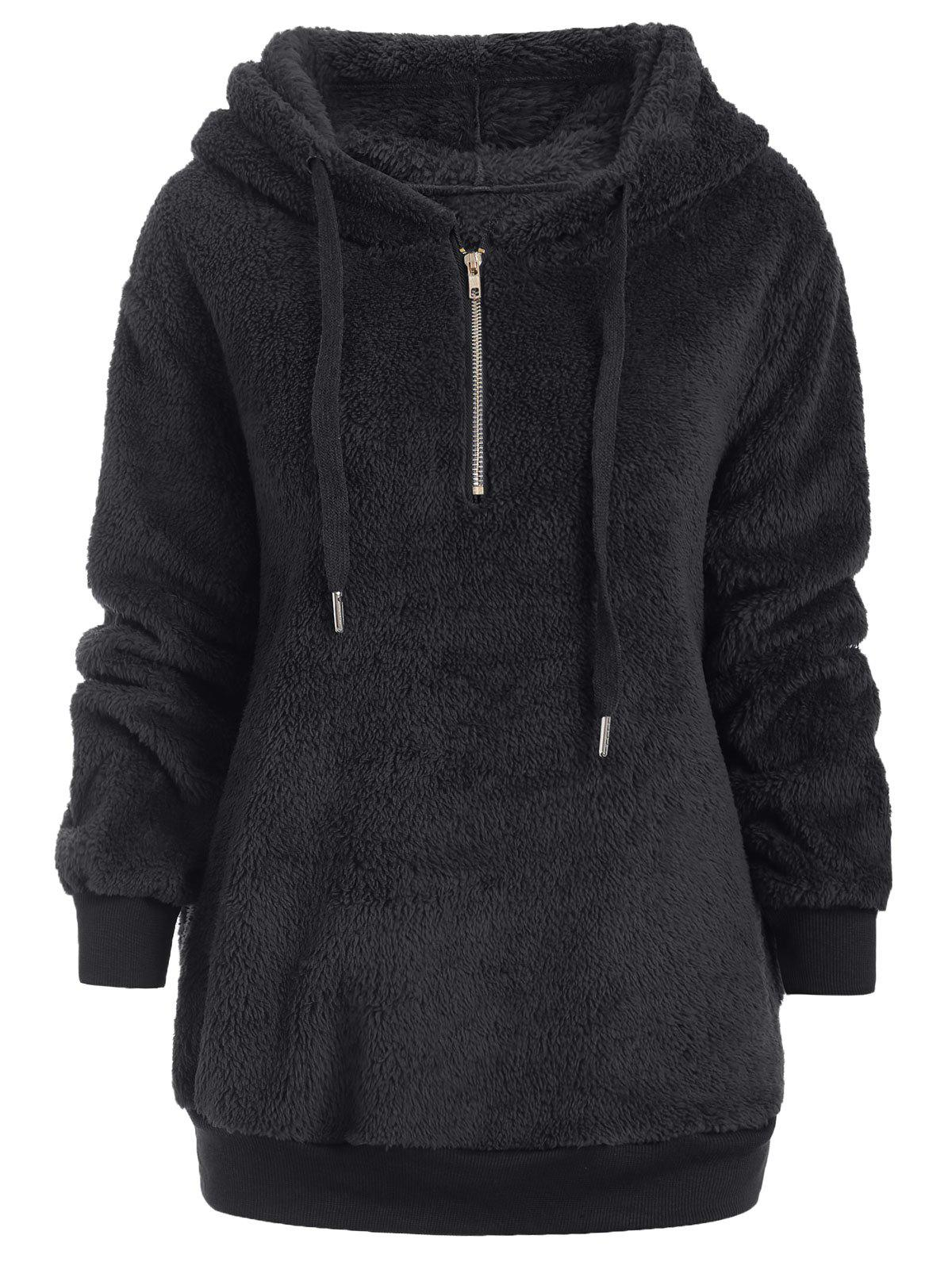 Fancy Half Zipper Drawstring Fluffy Hoodie