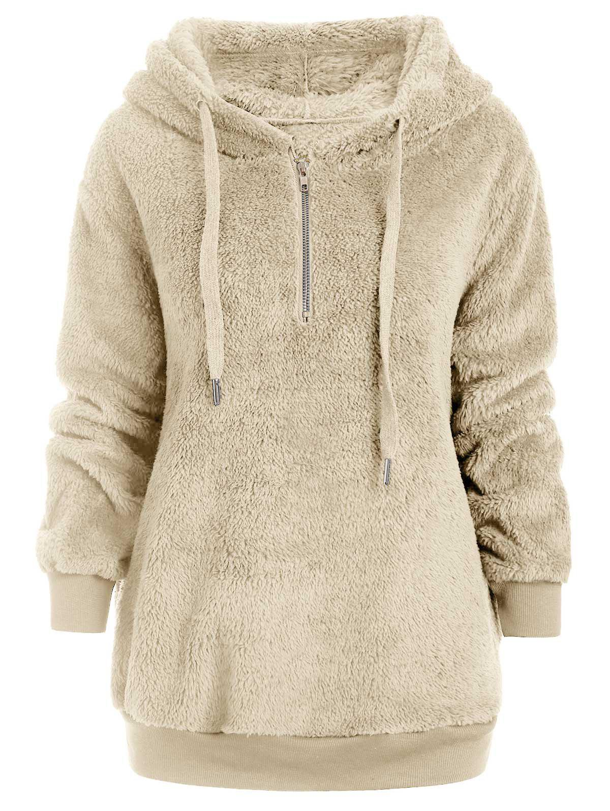 Fashion Half Zipper Drawstring Fluffy Hoodie