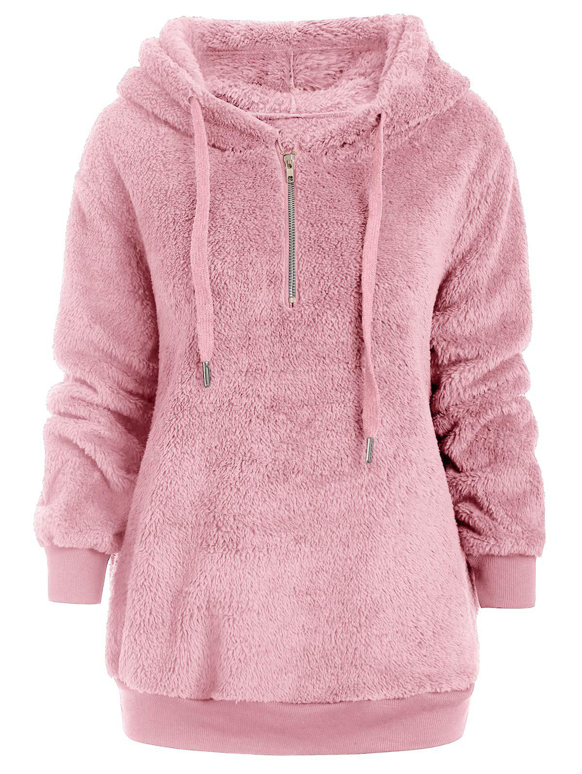 Shops Half Zipper Drawstring Fluffy Hoodie