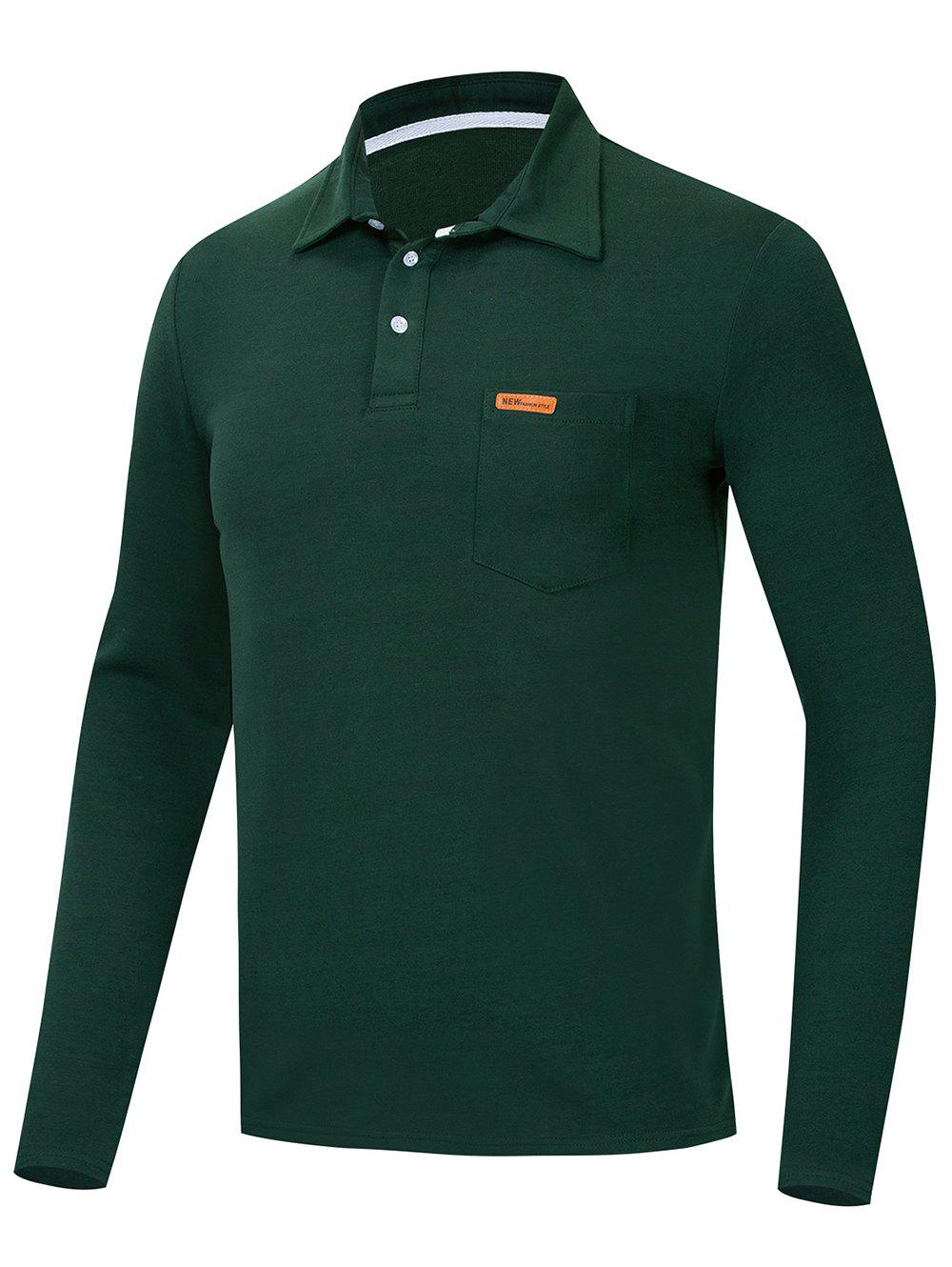Trendy Solid Color Long Sleeve Polo Shirt