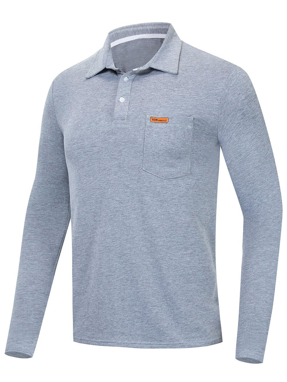 Online Solid Color Long Sleeve Polo Shirt