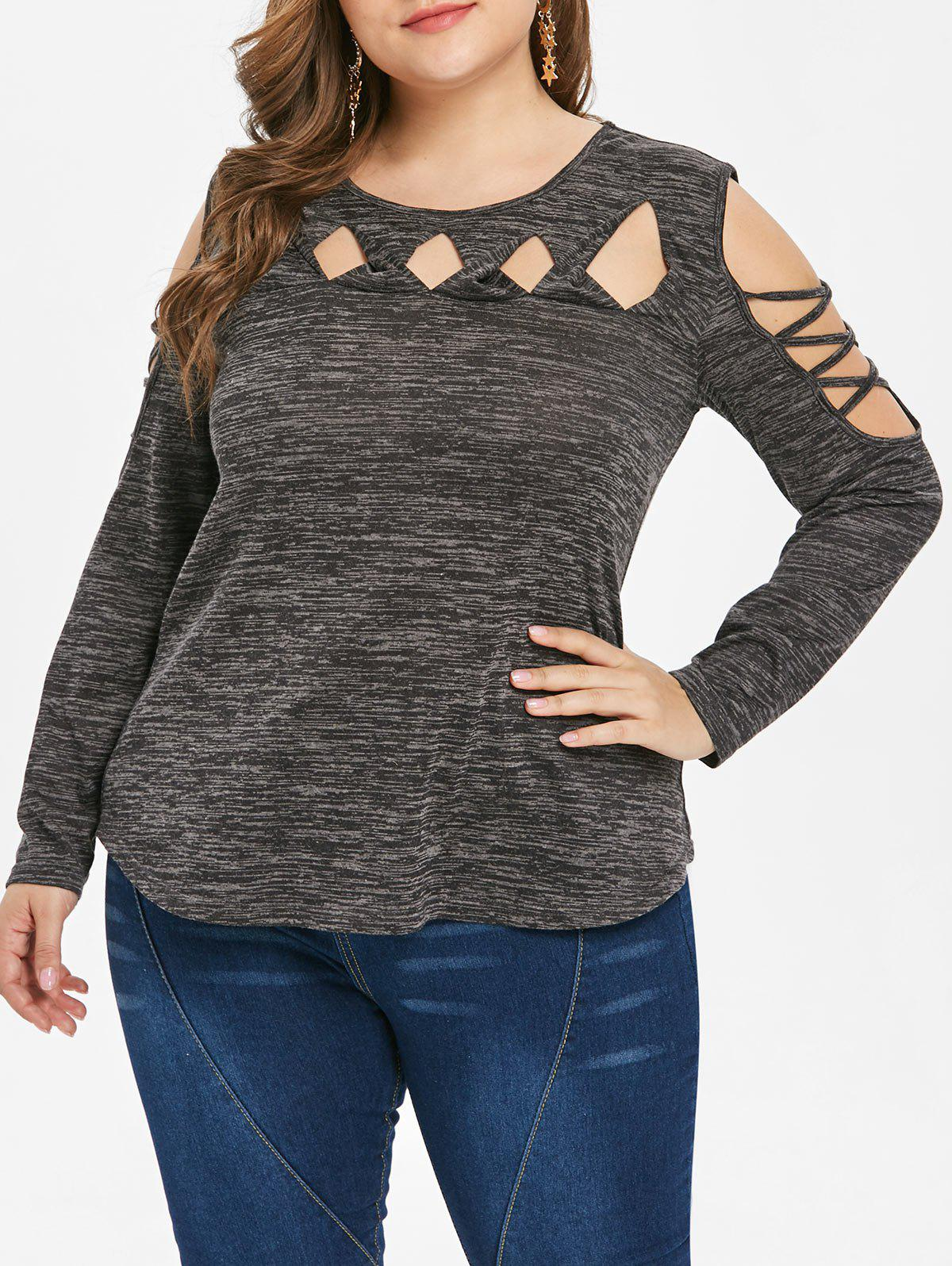 80723bf45 45% OFF] Plus Size Cut Out Criss Cross Open Shoulder T-shirt | Rosegal
