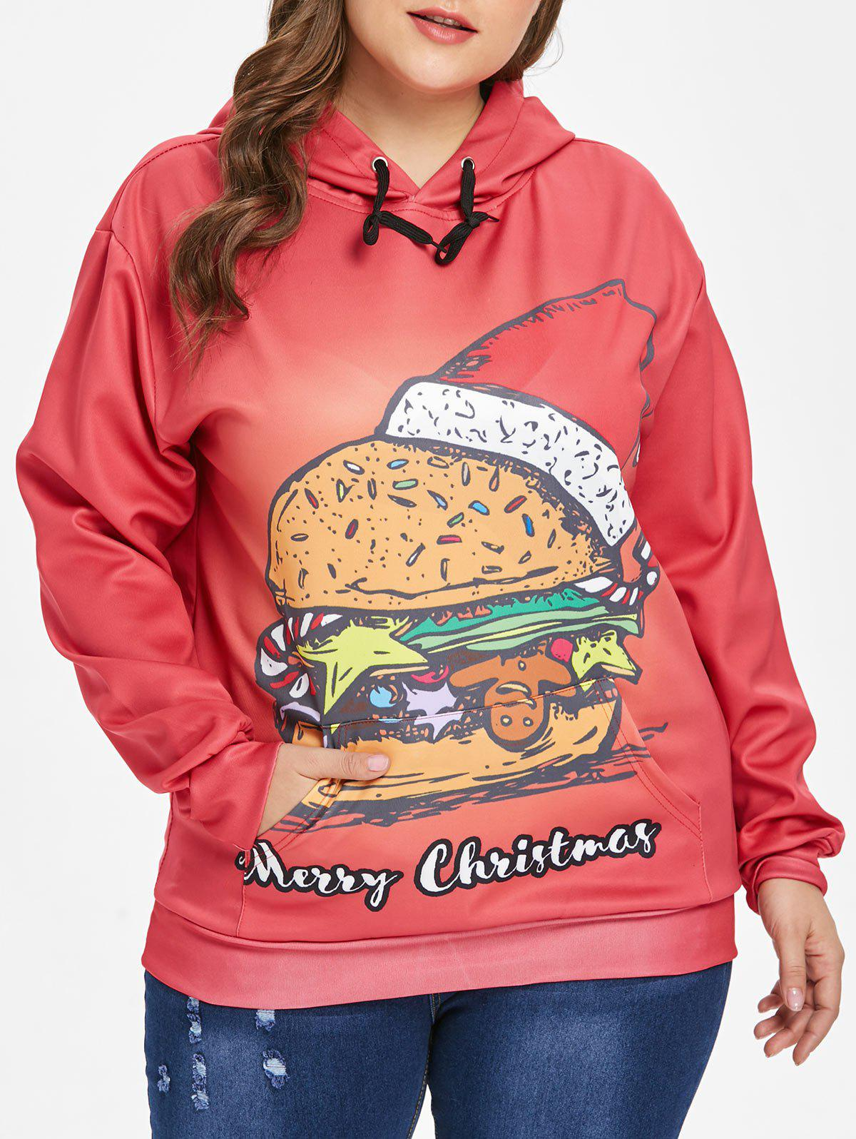 Fancy Plus Size Christmas Hamburger Hoodie