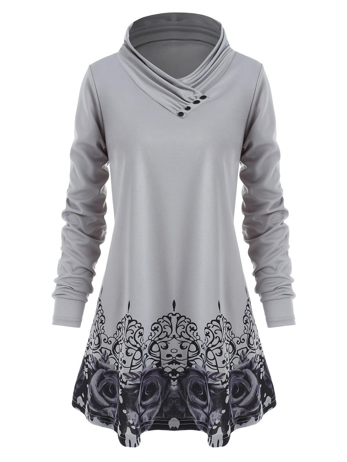 Store Plus Size Printed Cowl Neck T Shirt