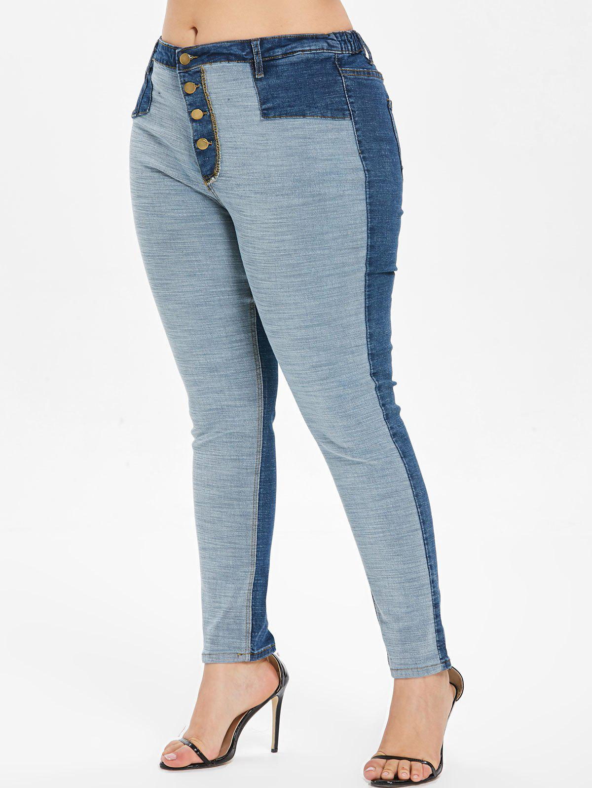 Cheap Plus Size High Waist Inside Out Jeans