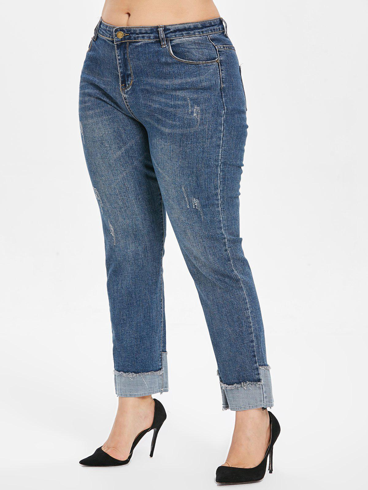 Discount High Rise Cuffed Plus Size Jeans