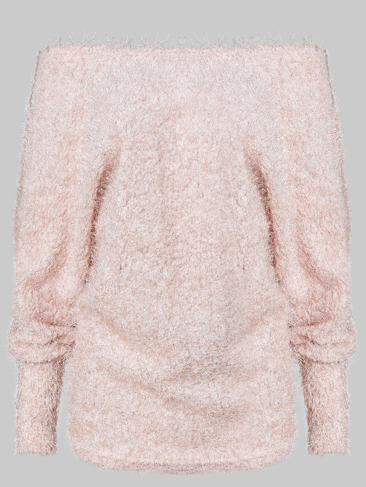 Best Off Shoulder Batwing Sleeve Fuzzy Sweater