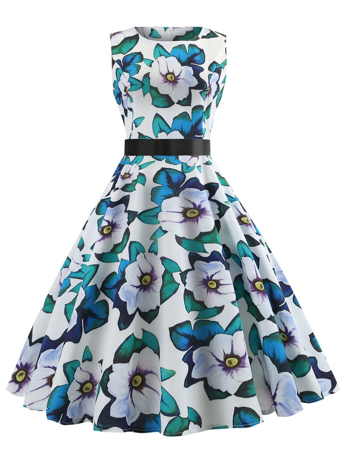 Latest Printed Sleeveless Belted Vintage Dress