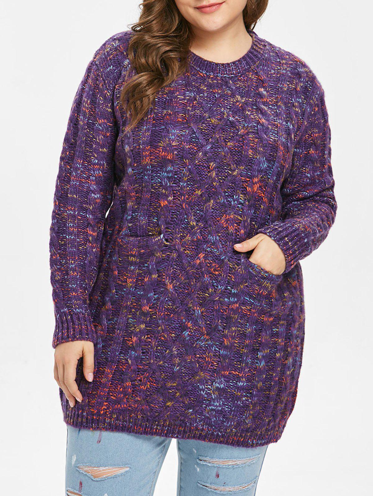 Chic Plus Size Cable Knit Pocket Sweater