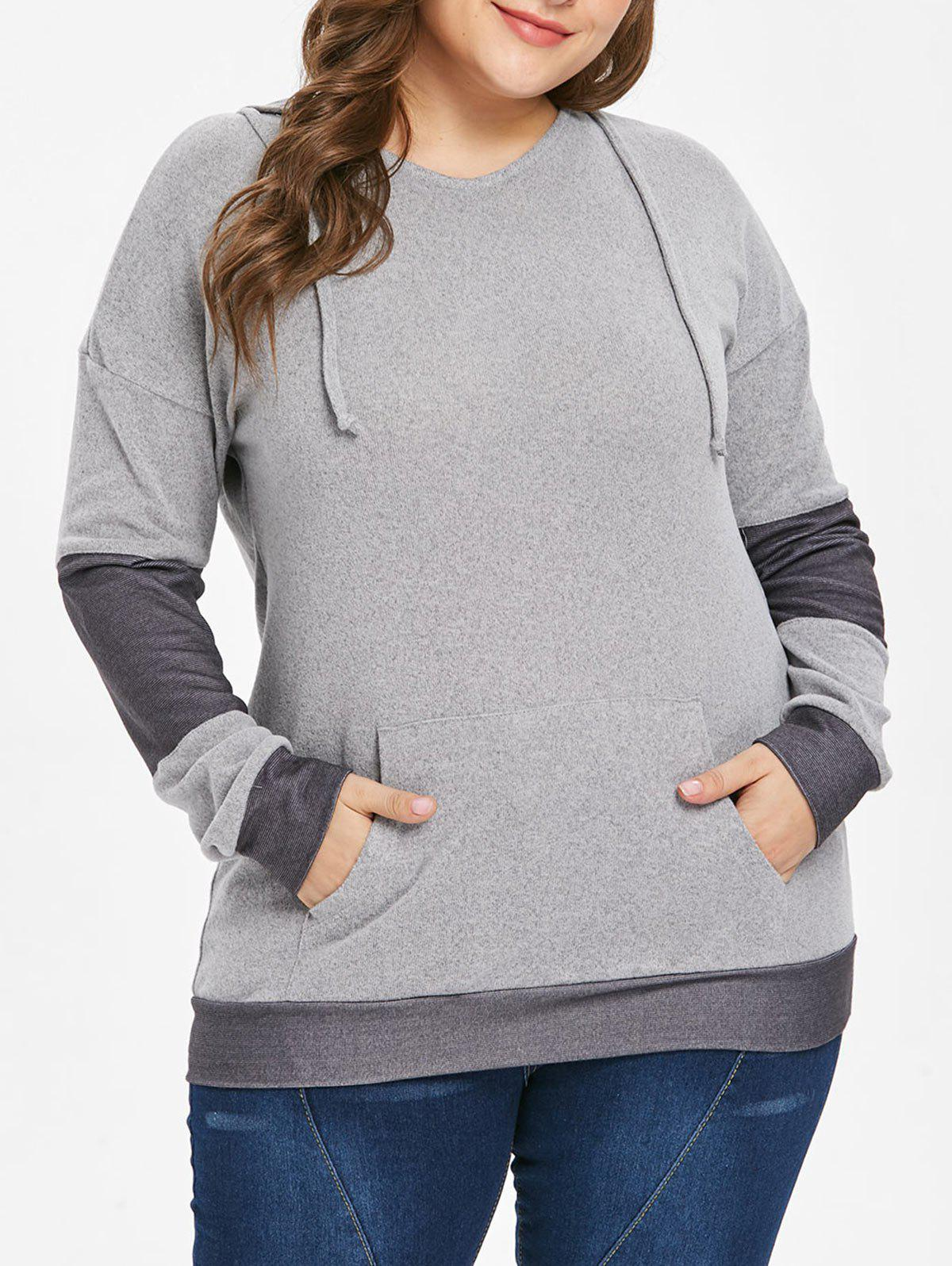 Fancy Drawstring Kangaroo Pocket Plus Size Hoodie