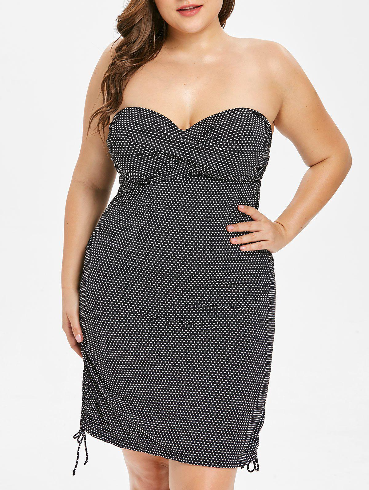 Outfits Plus Size Dotted Ruched Off Shoulder Tankini Set