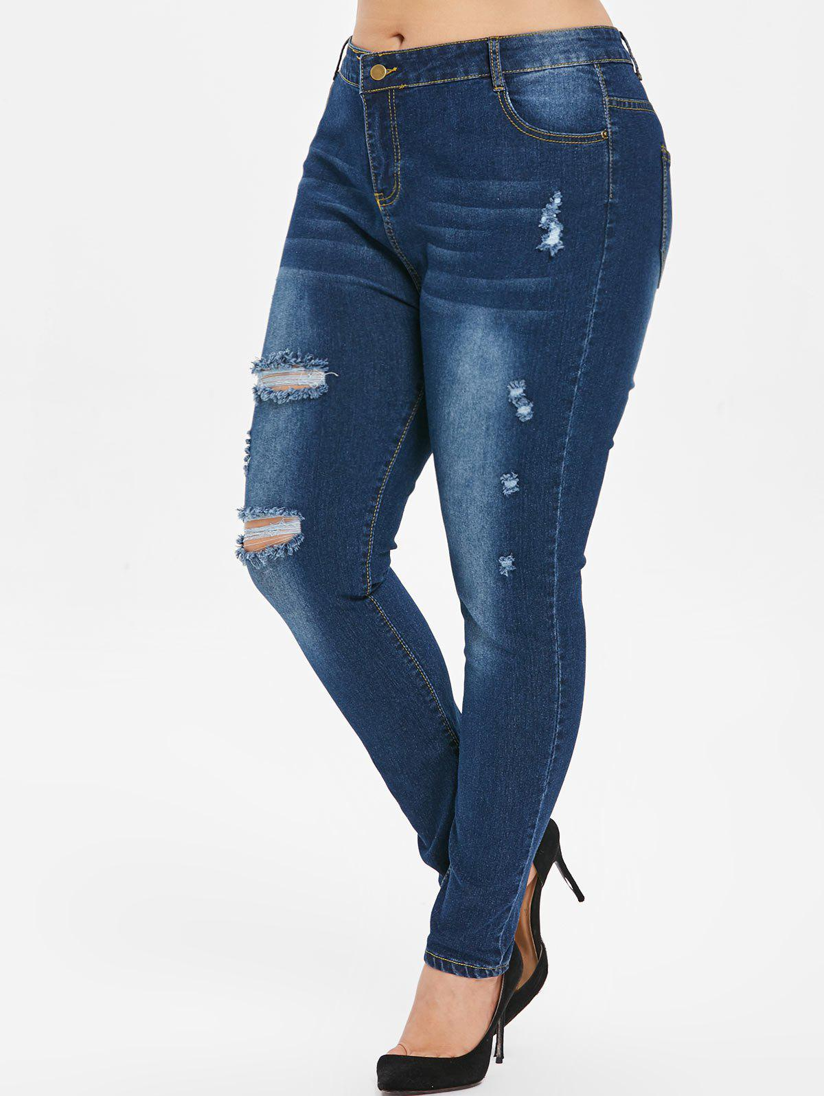 New Plus Size Distressed Dark Wash Jeans