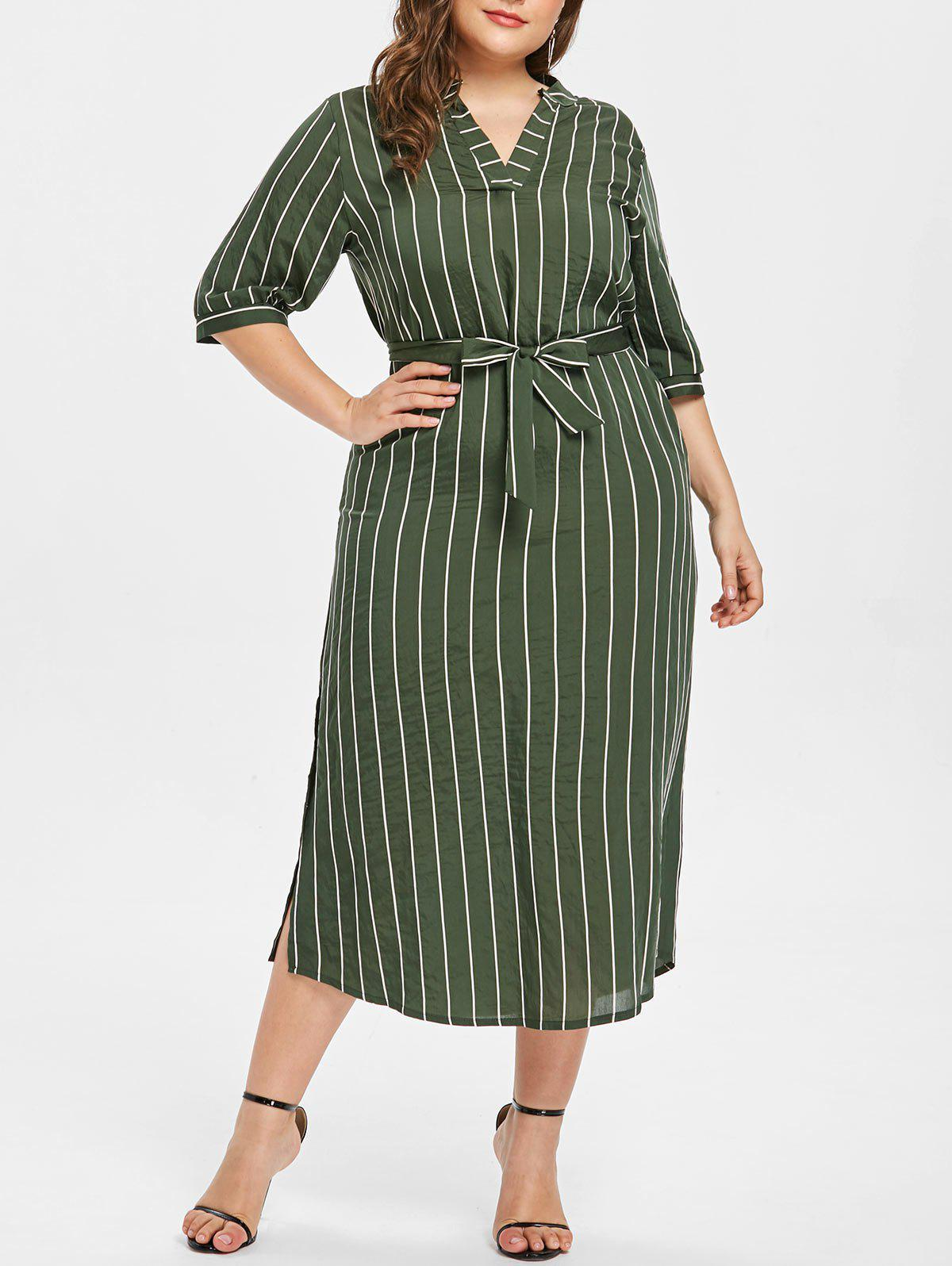 2019 Plus Size Stripe Split Midi Dress  10c916af36cb