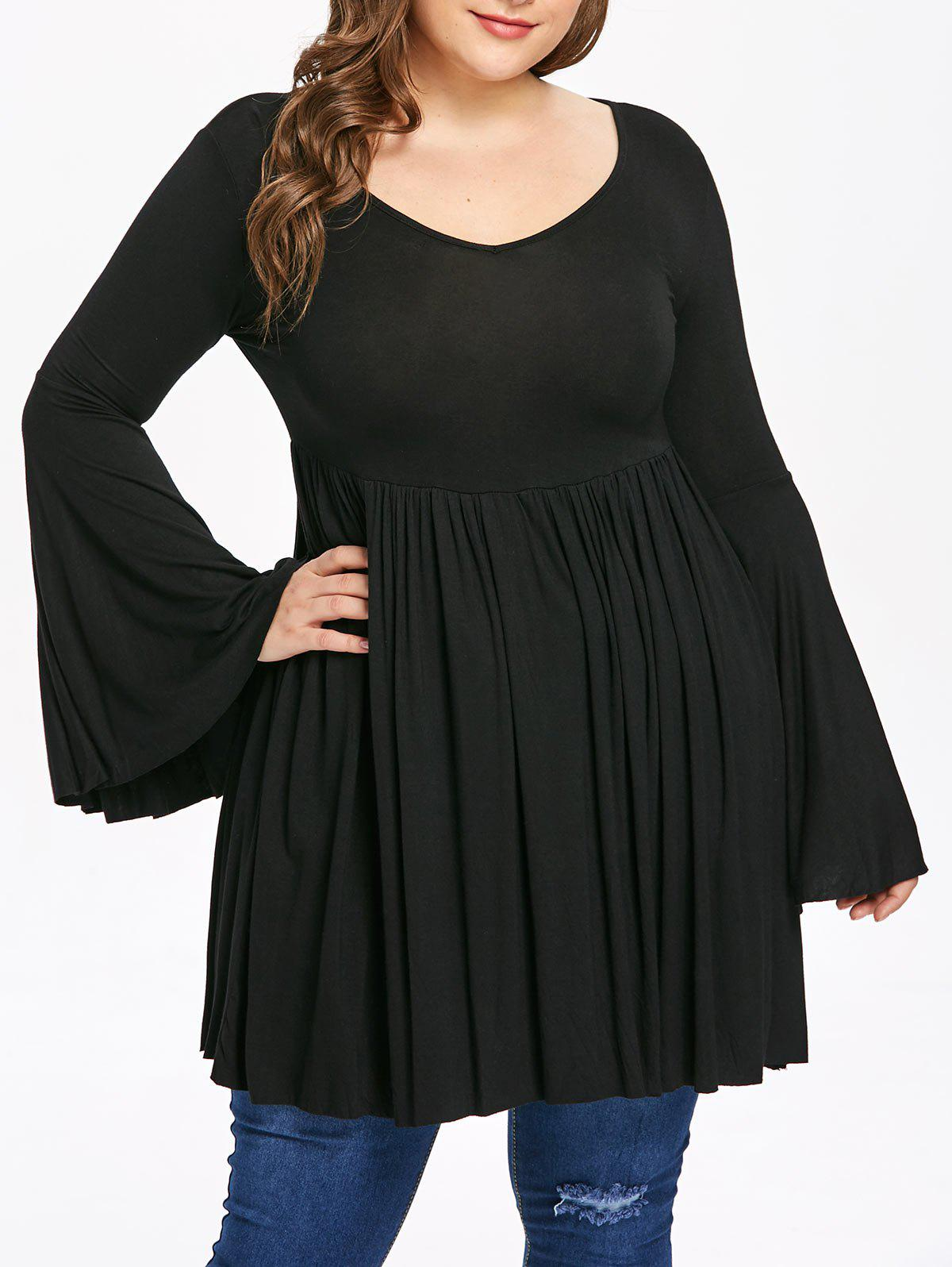 Trendy Plus Size Flare Sleeve A Line Dress