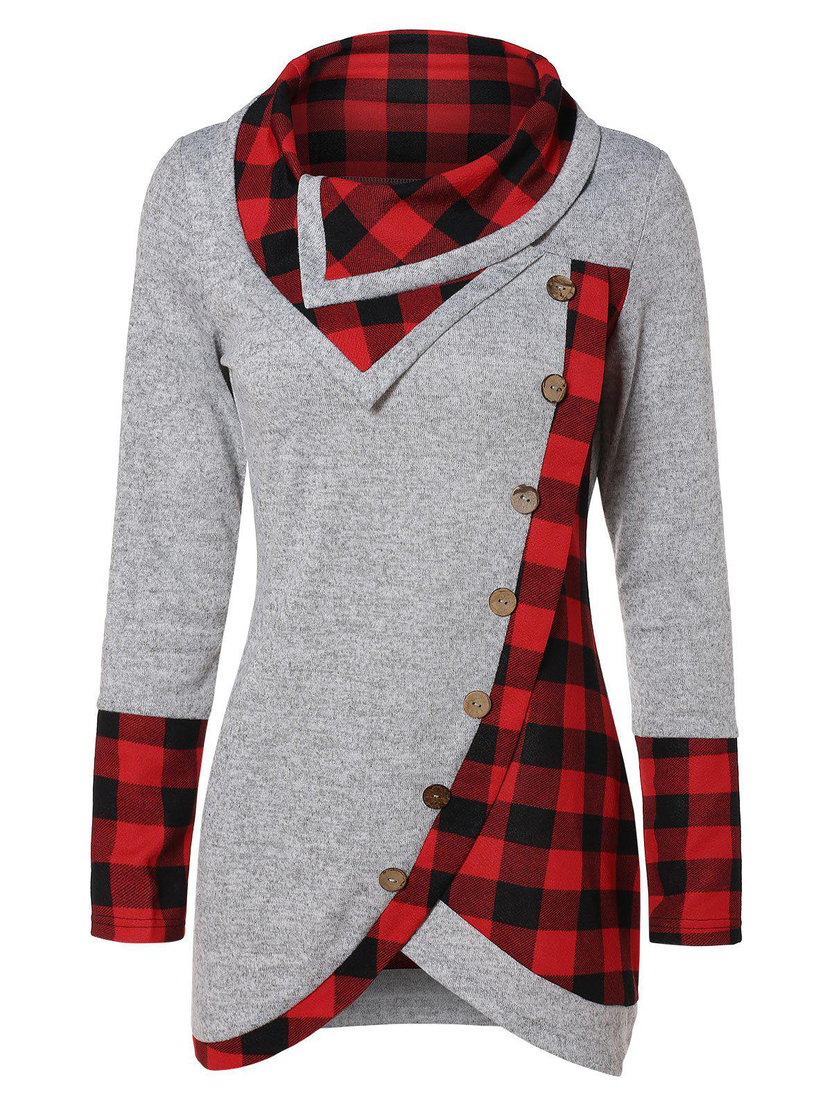 Unique Turtleneck Tartan Asymmetrical Sweatshirt
