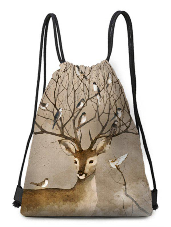 Store Deer Bird Drawstring Christmas Gift Bag