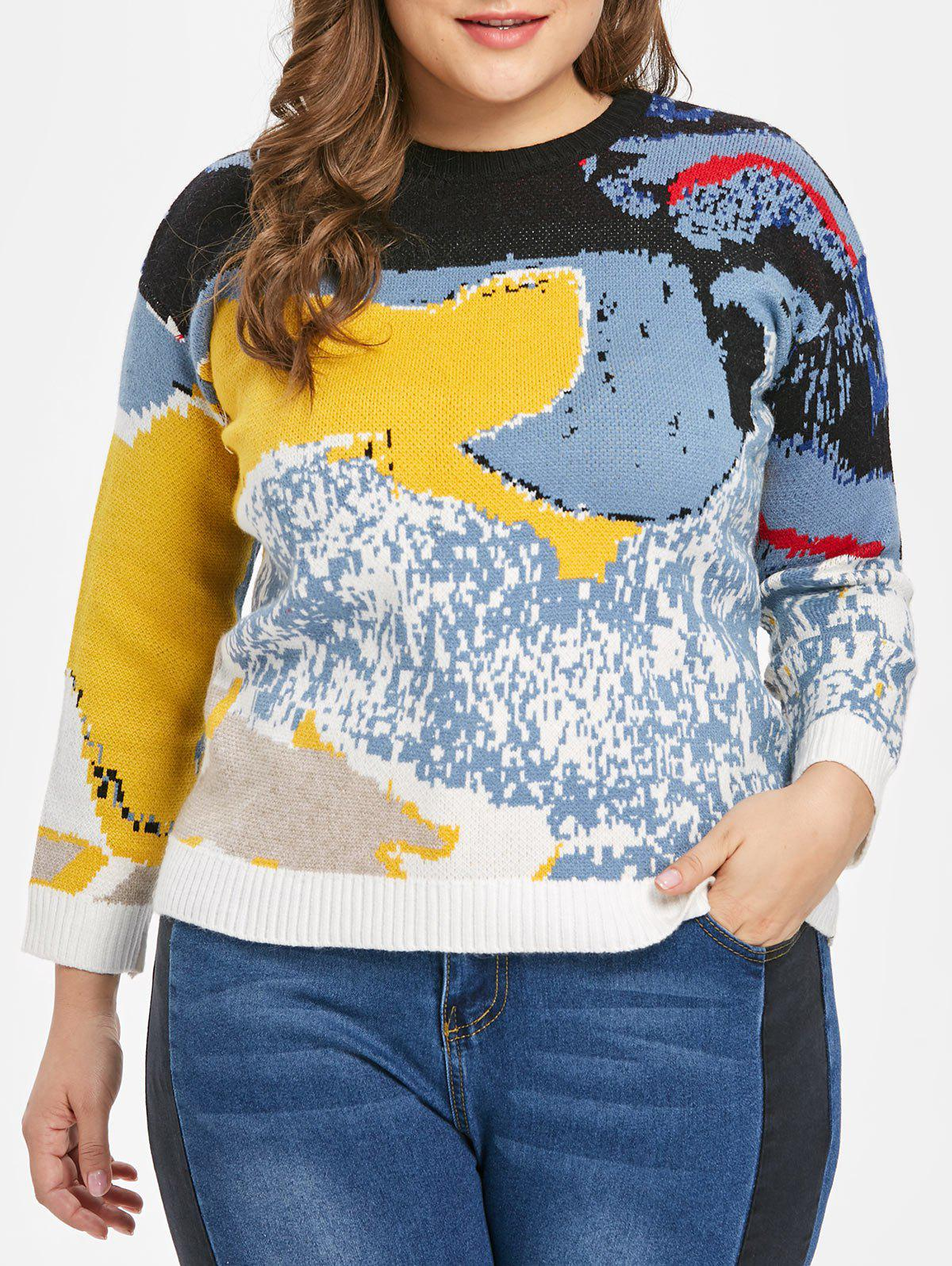 1a670ebb304 Online Abstract Pattern Plus Size Pullover Sweater