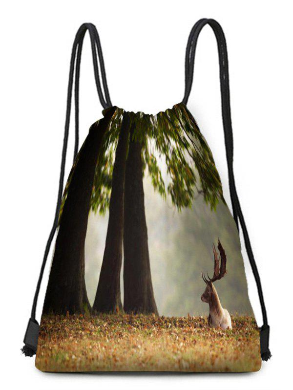 New Deer Printed Drawstring Christmas Gift Bag