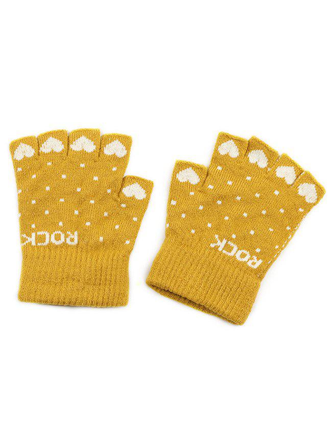 Fashion Heart Fingerless Knit Gloves