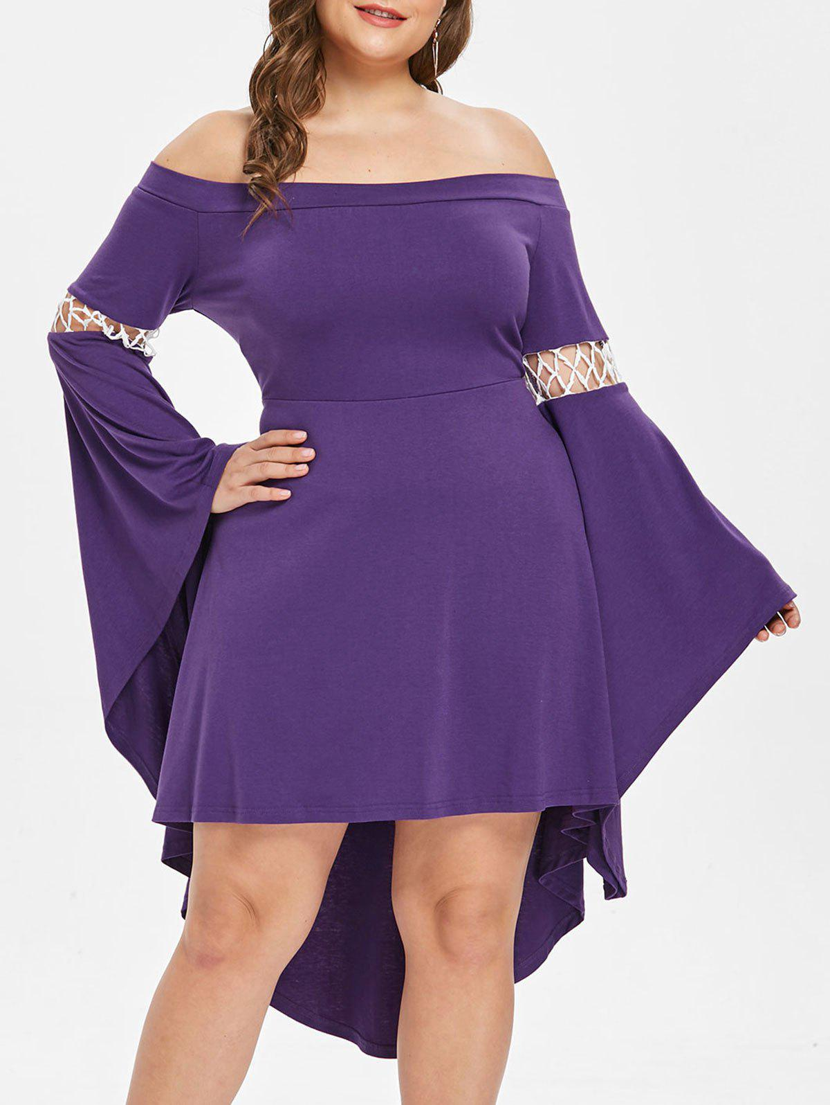 Off The Shoulder Bell Sleeve Plus Size Asymmetrical Dress