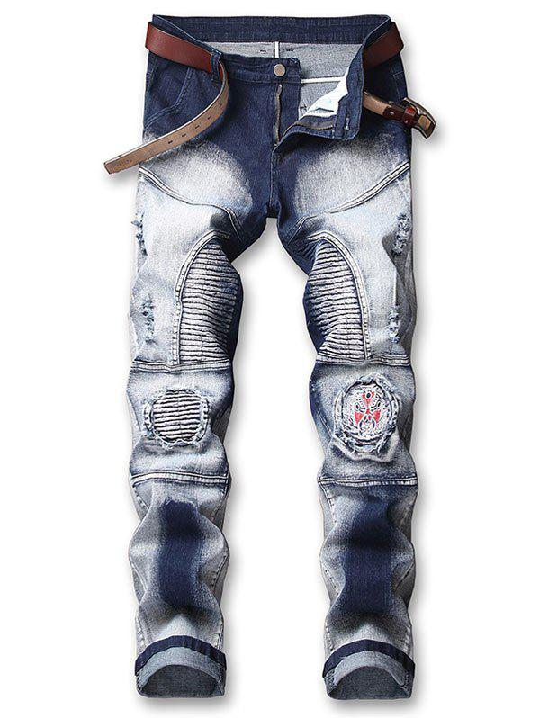 Store Opera Face Embroidery Patchwork Ripped Pleated Faded Biker Jeans