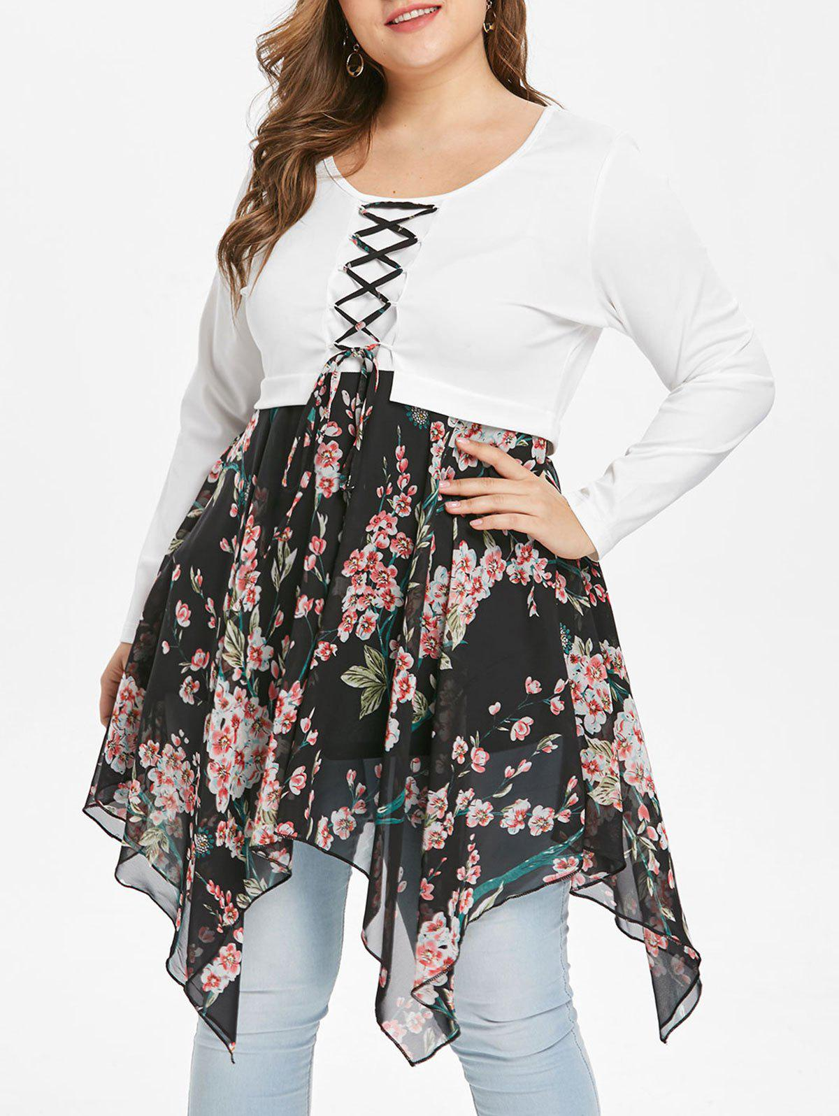 Best Plus Size Lace Up Floral Handkerchief T-shirt