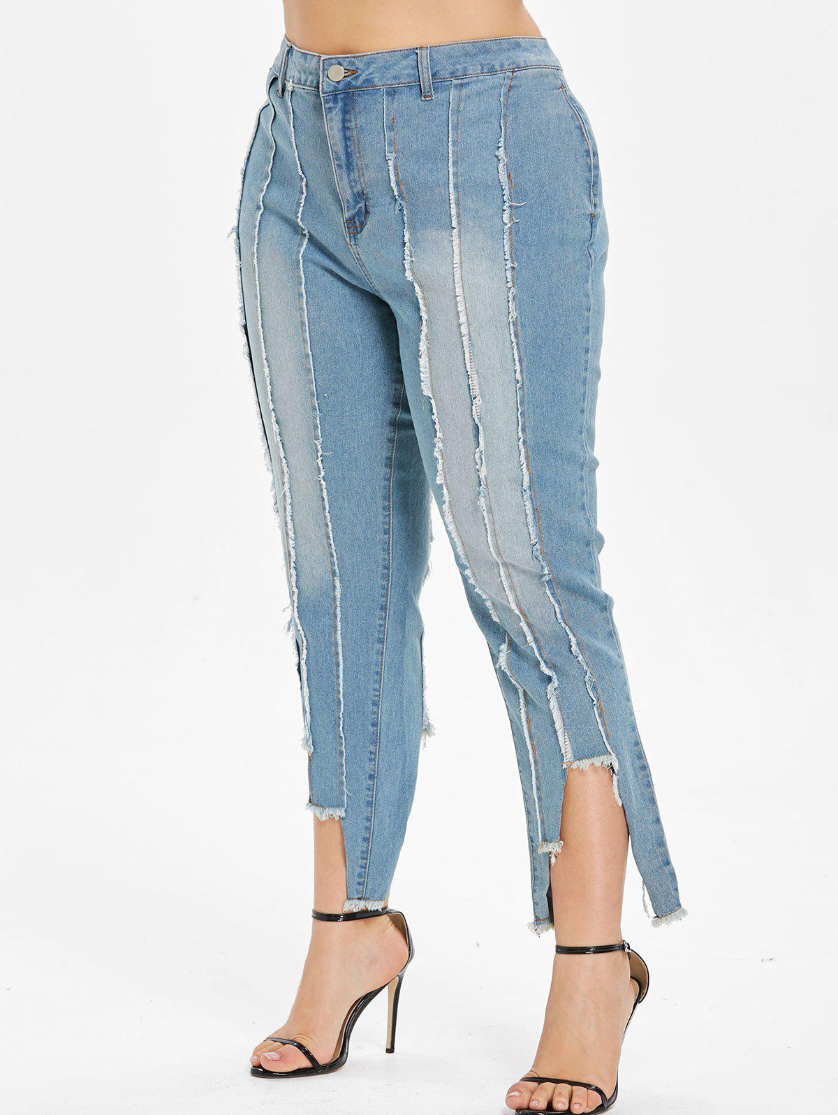 Store Frayed Hem Plus Size Cropped Jeans