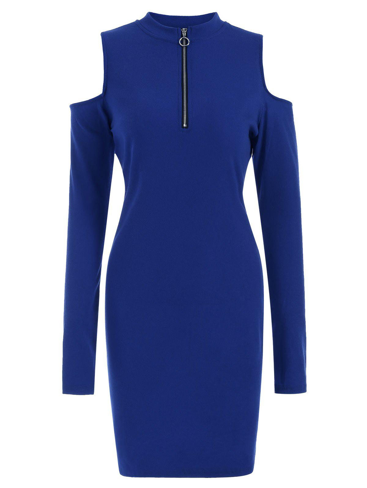 Best Half Zip Cold Shoulder Long Sleeves Bodycon Jumper Dress